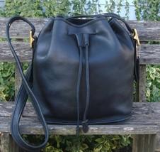 Vintage Coach Black Leather Lulas Legacy Drawstring Duffel Cross Body Bu... - $95.00