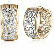 Dainty 14K Gold Silver Wide Filigree Hoop Earrings For Womens Girls Sensitive - $24.91