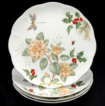 Lenox Butterfly Meadow Holiday Jasmine * 4 DINNER PLATES * Dragonfly, Ch... - $62.36