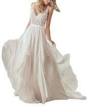 Womens V neck Lace Chiffon Beach Wedding Dresses Long Boho Bridal Gown f... - $129.99