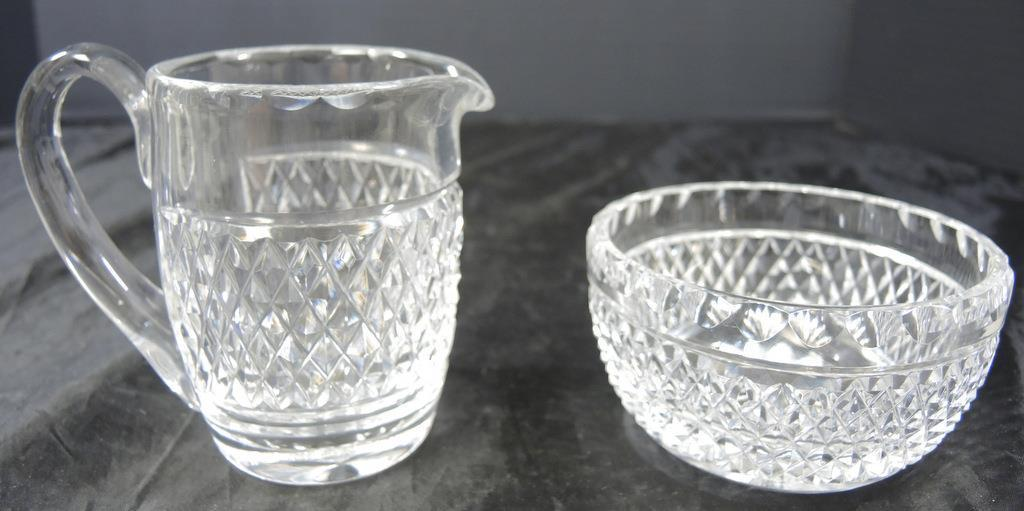 Primary image for Waterford Crystal Creamer & Sugar * Cashel Pattern