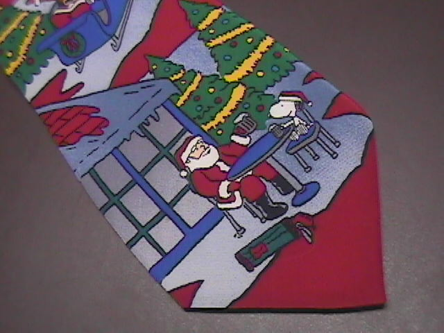 Peanuts Neck Tie When You're Selected By Santa Theres No Time for Rest Snoopy