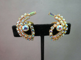 VTG AB Rhinestone Earrings Glass Stones Clip On Ear Climber Gold Plated ... - $15.83