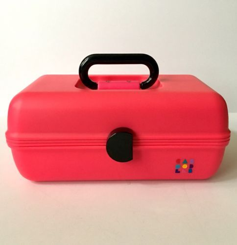 Vintage Caboodles Makeup Case Pink Black 2 Tier Sliding Trays Cosmetic Organizer