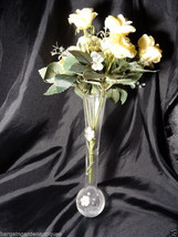 Italian Hallmarked Silver Sunflower Plaque Cut Glass Round Bulbous Art Vase - $127.40