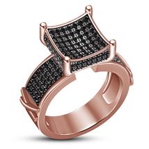 Black Diamond Womens Wedding Engagement Ring 14k Rose Gold Finish 925 Si... - $73.99