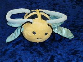 gymboree yellow bumble bee purse OS Girl Stuffed Plush Zipper Blue Satin Wings - $24.74