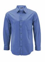 Men's Dark Blue Cotton Long Sleeve Collared Plaid Button Up Dress Shirt - M