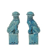 PAIR of AQUA FOO DOG STATUES, Book Ends, Cerami... - $199.00