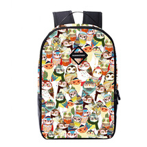 students owl print youth leisure waterproof breathable travel backpack - $494,58 MXN
