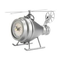 Helicopter Desk Clock Aviation Vintage Design Polished Silver Finish  - $37.45