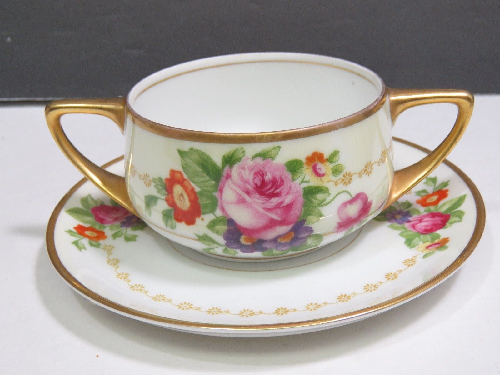 Primary image for Rosenthal Selb Bavaria Donatello Double Handle Cream Soup Bouillon Cup Saucer