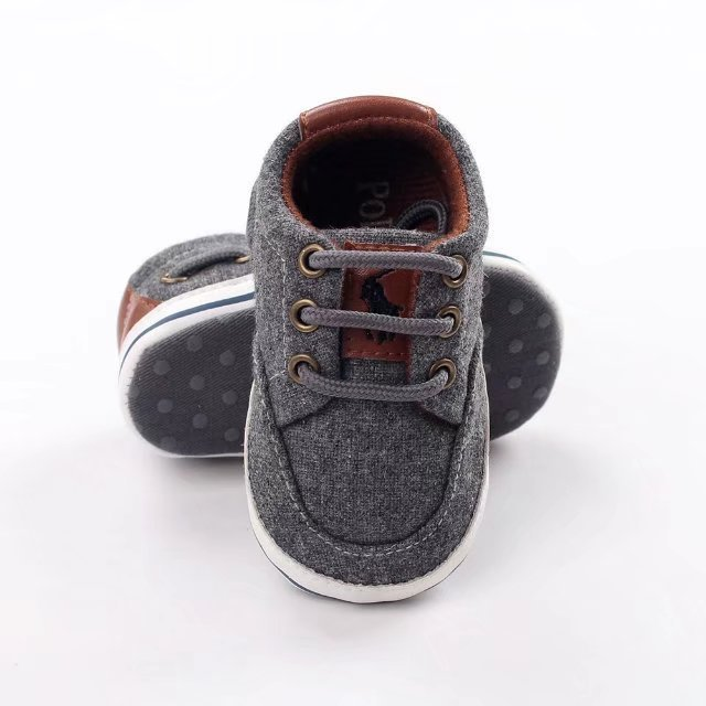 Gray Canvas Baby Toddler Shoes Soft Bottom Baby Walking Shoes P4214 for sale  USA