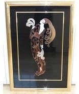 ERTE REVERSE FOIL ENAMEL ON GLASS ART DECO LOVELY LADY PAINTING - $2,600.00