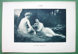 NUDE Ladies Gossipping on River Bank - VICTORIAN Lichtdruck Print - $16.20