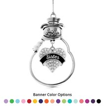 Inspired Silver Sister Pave Heart Snowman Holiday Ornament- Select Your Banner C - $14.69