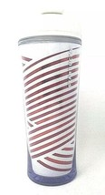 Starbucks Red Metallic Foil Striped Tumbler White 2009 12 Oz Holiday Can... - $7.34