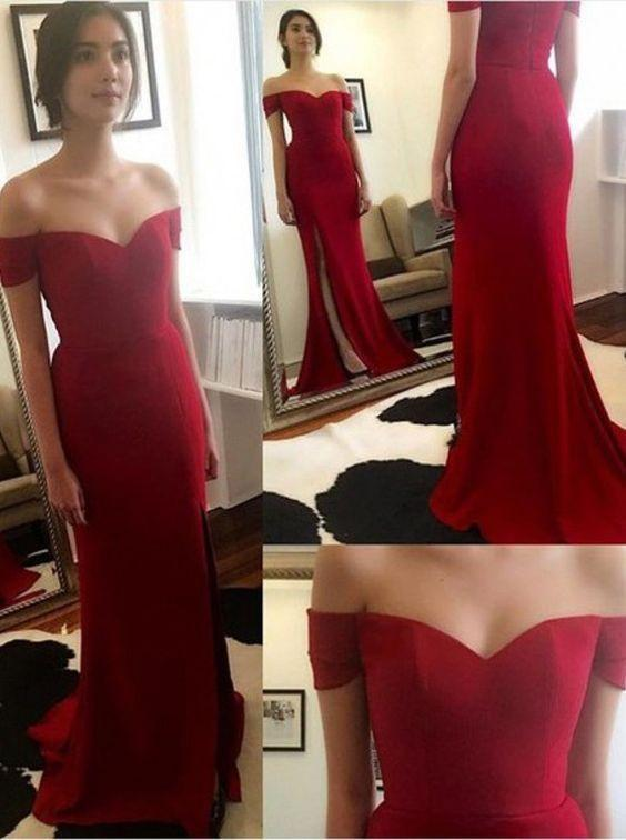 red prom dress,long prom dress,off shoulder prom dress,side slit prom dresses