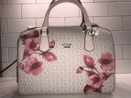 Guess Pink Monogram Flowered Handbag Satchel Purse Tulips Roses - $170.00