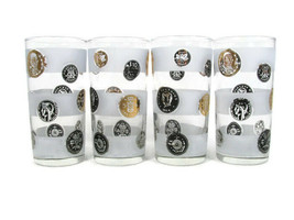 Libbey Set of 4 Glasses Tumbler Mid Century Coin Frosted Bands Black Gold 10 Oz  - $40.86