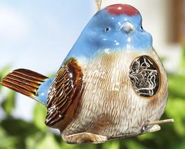 Chubby Blue Bird W/ Crackle Finish Ceramic Hanging Bird House - $14.95