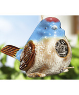 Chubby Blue Bird W/ Crackle Finish Ceramic Hanging Bird House - $14.95