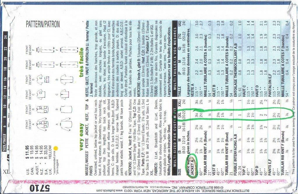 Butterick Pattern 5710 Misses Professional Uniform Basics XL - XXL Uncut