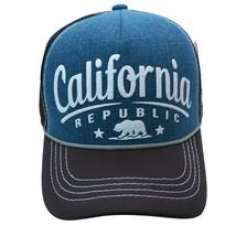 California Republic  Bear Denim Sponge Mesh Trucker Hat Denim blue Snapback - $11.95