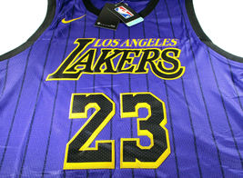 LEBRON JAMES / AUTOGRAPHED LOS ANGELES LAKERS PRO STYLE BASKETBALL JERSEY / COA image 2