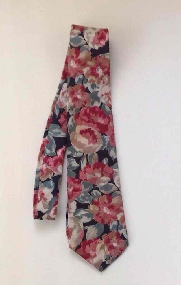 Geoffrey Beene Tie Floral Pink Green Peach Necktie Business Dress Career Vintage