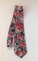 Geoffrey Beene Tie Floral Pink Green Peach Necktie Business Dress Career Vintage - $8.48