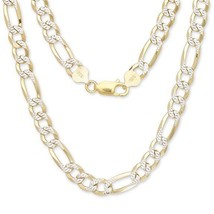"""30"""" Figaro Italian Chain Two Toned 14K Gold over .925 Sterling Silver / 8mm - £125.55 GBP"""
