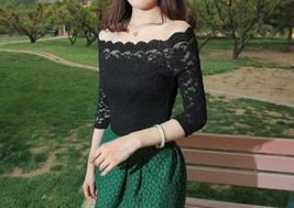 Women Off Shoulder Floral Lace Cap Sleeve Lace Shirt Black Lace Tops XXXL NWT image 5