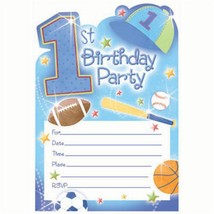1st Birthday All Star Birthday Party Invitations & Envelopes 20 Per Pack... - $7.18