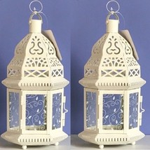 Lot of 2 Moroccan Style Lantern White Candleholder Wedding Centerpieces - $22.54