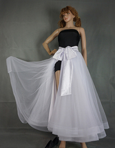 Slit Tulle Skirt Bridal Over Skirt White Layered Slit Open Skirt Wedding Outfits image 3