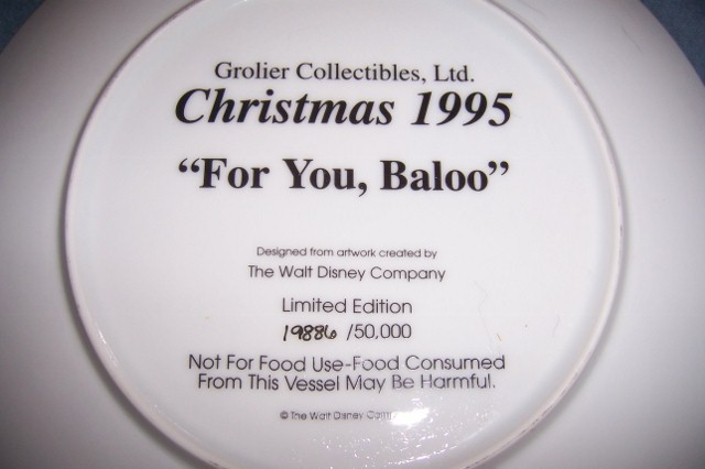 Grolier Jungle Book Christmas Collector Plate 1995 For You Baloo