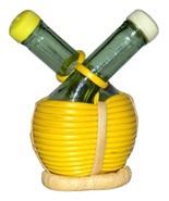 Vintage Chianti Salt Pepper Shakers Glass Wine Bottles in Basket  - $14.99