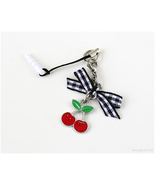 Red Cherry Phone Charm Plug in Silver, Rockabilly, Kawaii Accessories, C... - $7.00