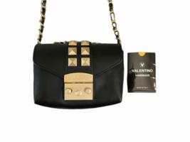 Valentino Black Leather Gold Stud Rockstud Small Glam Lock Crossbody Bag Purse image 2
