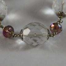 925. RHODIUM SILVER BRACELET WITH PURPLE AND TRANSPARENT CRYSTALS image 2