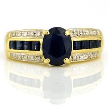 2.25 Carat 14 Karat Gold Blue Sapphire Diamond Ring - $688.05
