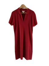 Vintage Talbots Womens L Red cotton ribbed Sweater Dress vneck zip collar - $40.59