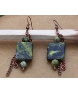 Turquoise Cropper Dangle Earrings Turquoise Dec... - $29.99