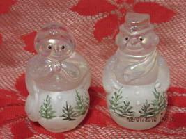 FENTON ART GLASS 2000 WOODLAND FROST SNOWMAN & SNOWLADY~D. CUTSHAW - $135.00