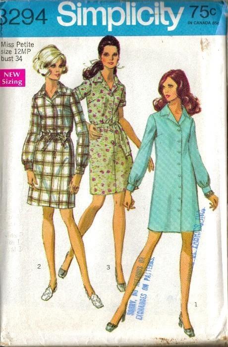 UNCUT Vintage 1969 Simplicity #8294 SHIRTDRESS, Sz 12 Petite Simplicity New Look