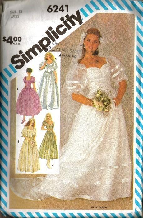 UNCUT Vintage 1983 Simplicity #6241 BRIDE'S DRESS, Sz 12 Simplicity New Look