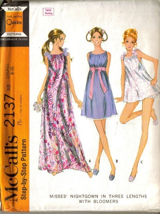 UNCUT Vtg 1969 McCall's #2137 - NIGHTGOWN & BLOOMERS - Sz 8-10 McCall's