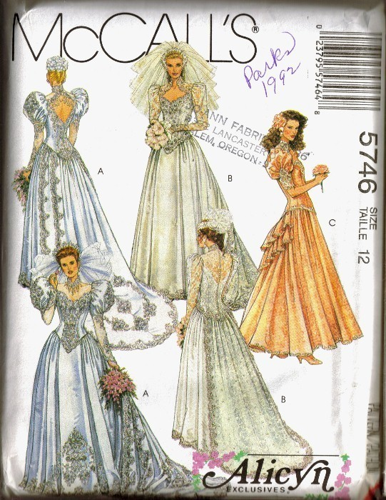 UNCUT 1992 McCall's #5746 BRIDE'S & Bridesmaid's DRESS, Sz 12 McCall's