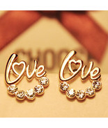Valentine's Day, Jewelry, cute Gold Plated LOVE Heart Crystal Stud earrings - $3.99